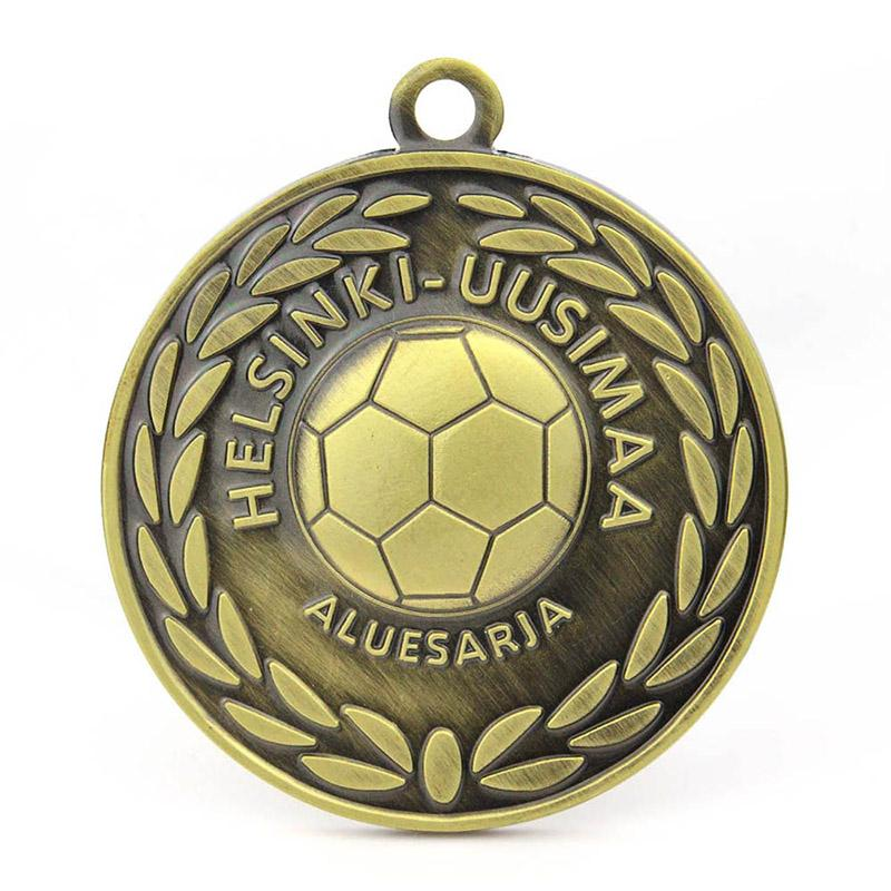 Antique Brass Sports Soccer Medal