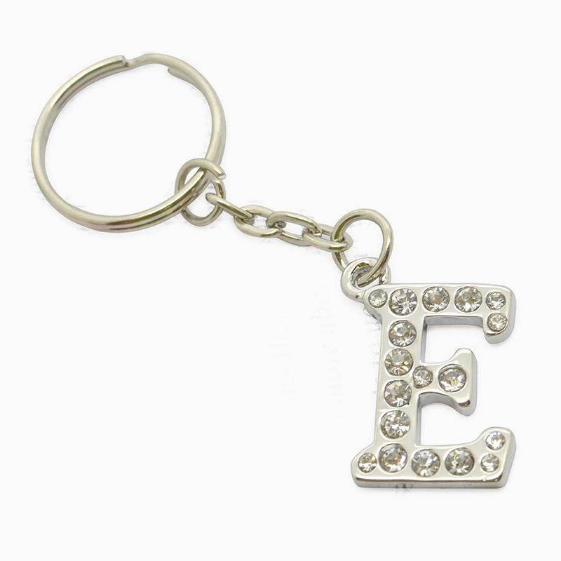 metal jewelry bling letter e keychain