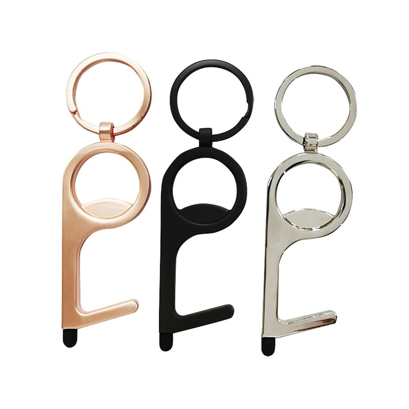 Copper No Touch Door Opener Key Holder With Stylus