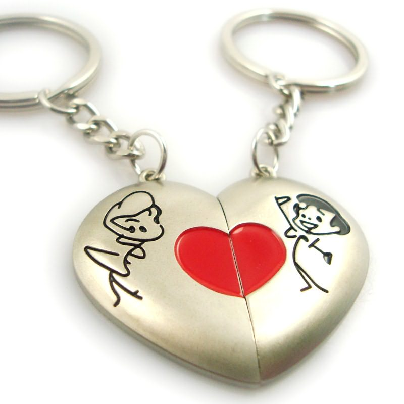 Fashion heart shaped metal pair key ring​