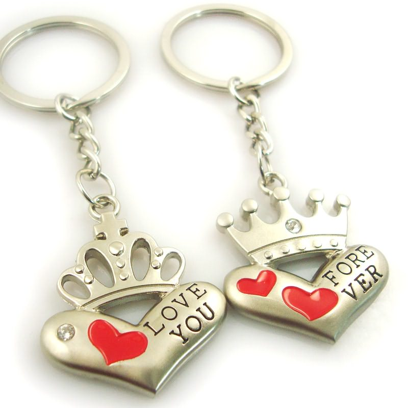 Wholesale cheap metal pair keychain