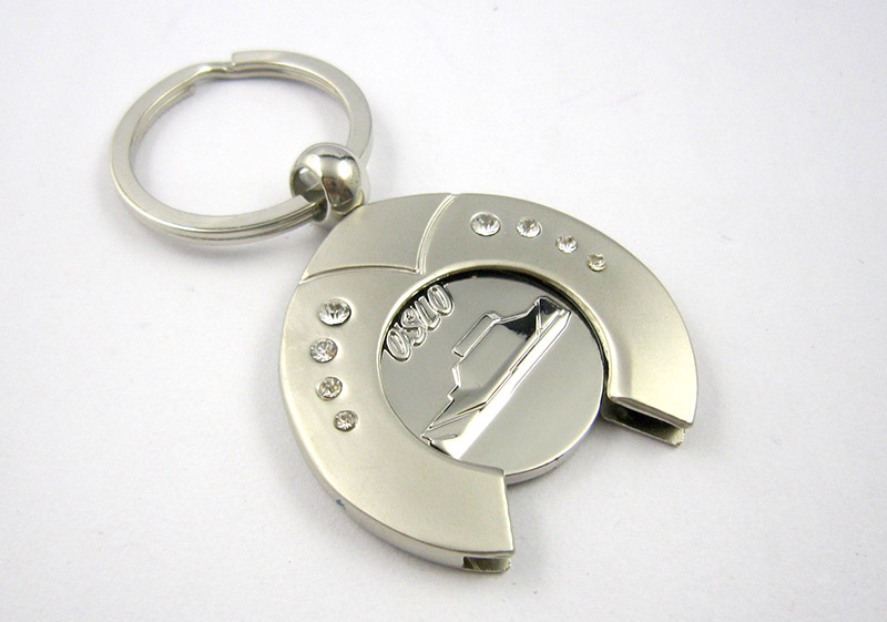 Cheap token keychain metal coin holder keyring