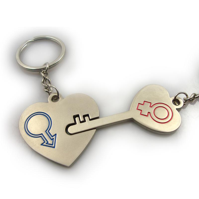 Fashion metal couple keychains