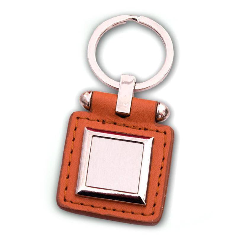 Custom logo metal leather key chain