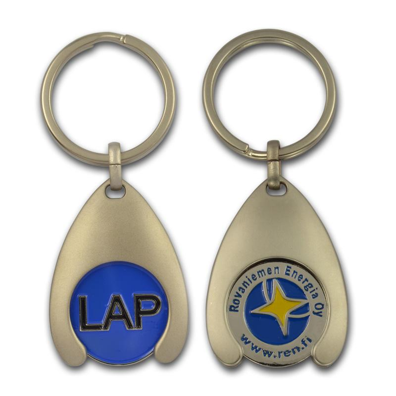 Customized logo fashion metal token holder keychain