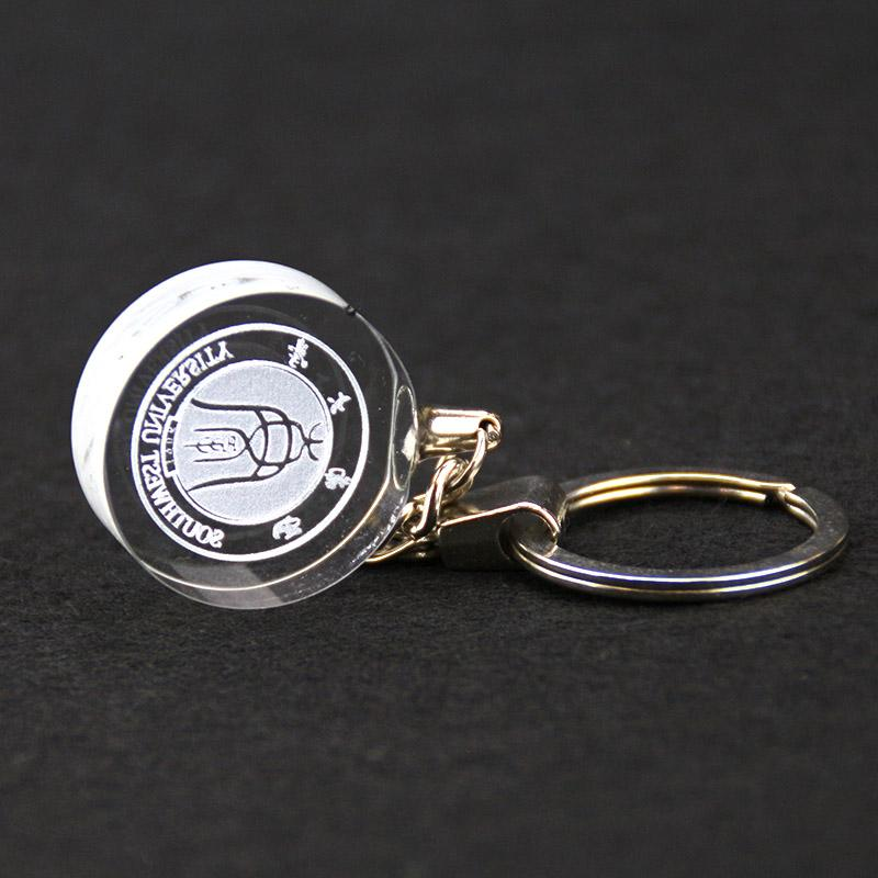 Wholesale cheap custom plated gold crystal keychain