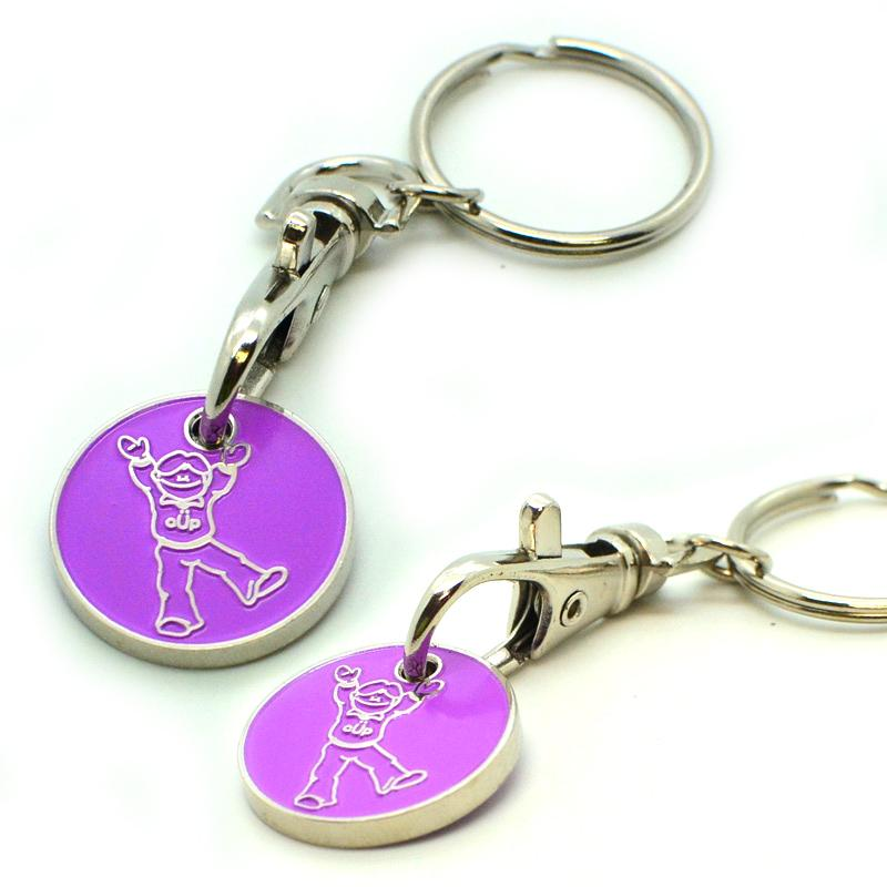 Metal trolley coin keychain in key chains