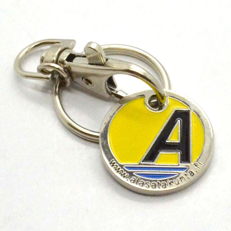 Manufacturer promotinal metal trolley coin keychain