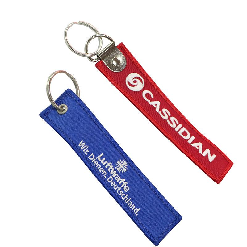 No Minimum Promotion Cheap Nylon Embroidery Lanyard Keychain
