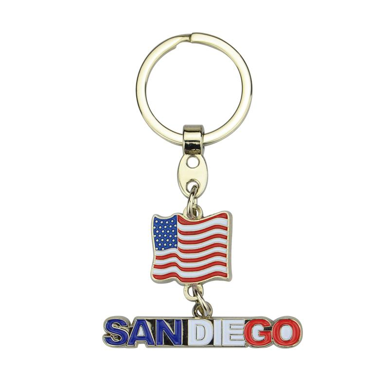 Wholesale Keychain Custom Metal Enamel Country Flag Keychain