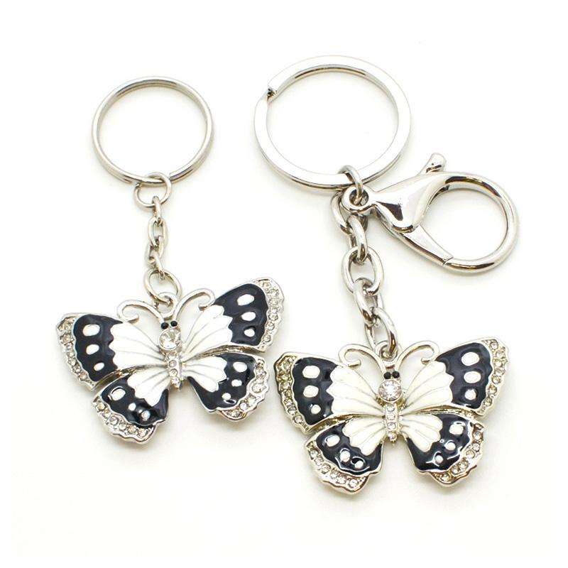 Wholesale Keychain Metal Enamel Butterfly Keychain With Diamond