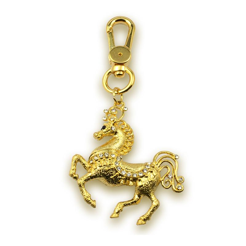 Keyring Maker Custom Gold Jewelry Horse Keychain With Rhinestone