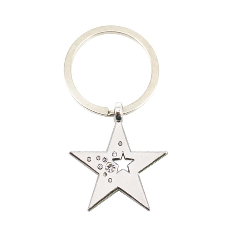 Artigifts Custom Metal Star Shape Key Ring Holder With Rhinestone