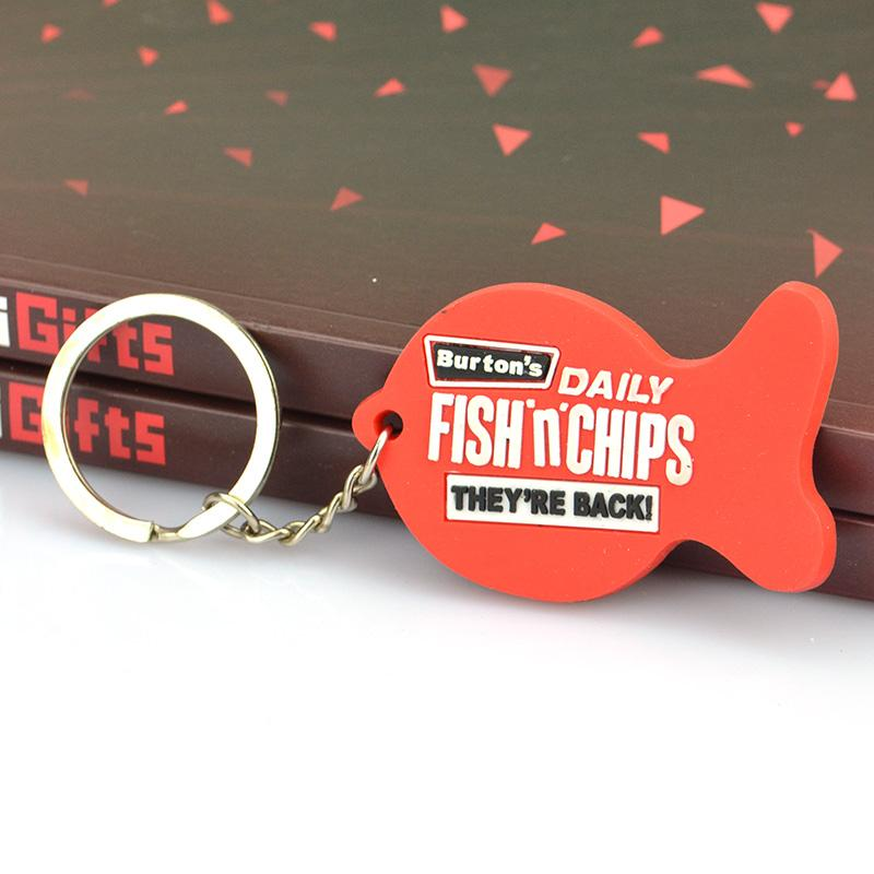 Factory Custom Design Your Own Logo Soft Pvc Fish Keychain