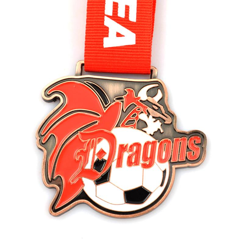 Custom 2D Metal Plated Antique Brass Sports Soccer Medal