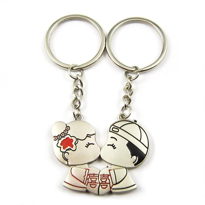 Oem Promotion Gift Pair Keyring Wedding Keychain For Couples