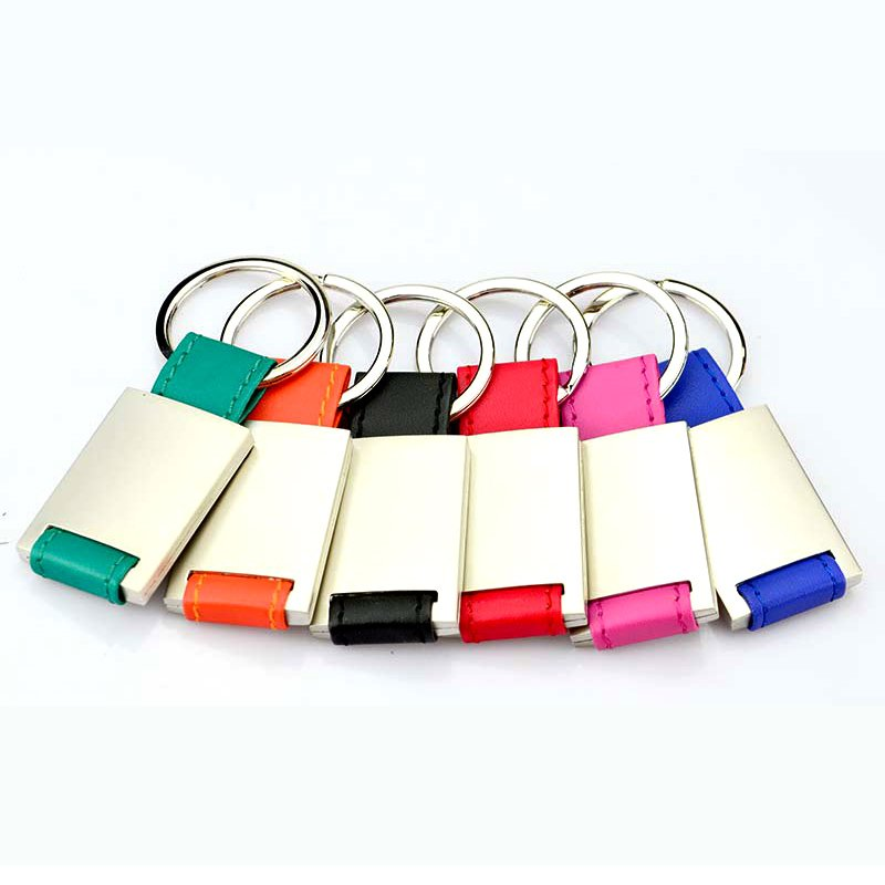 Custom Pu Leather Keychain With Logo Blank Leather Keyring