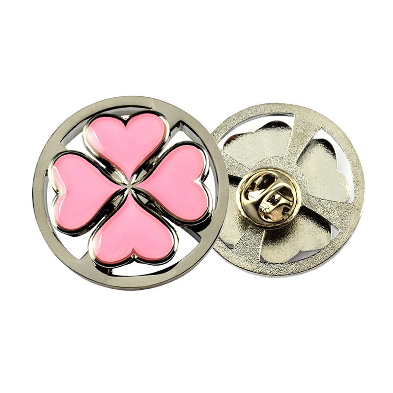 Spinning Enamel Pin Badge Metal Flower Lapel Pin Brooches