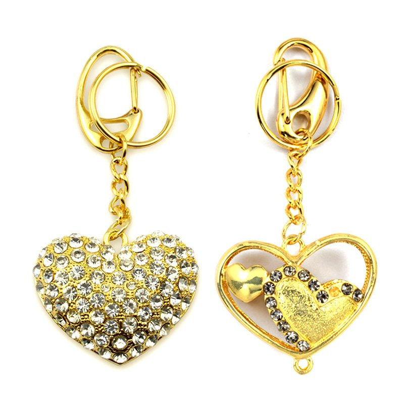 Diamond Keychain Custom Heart Shape Key Chain Gold Key Rings