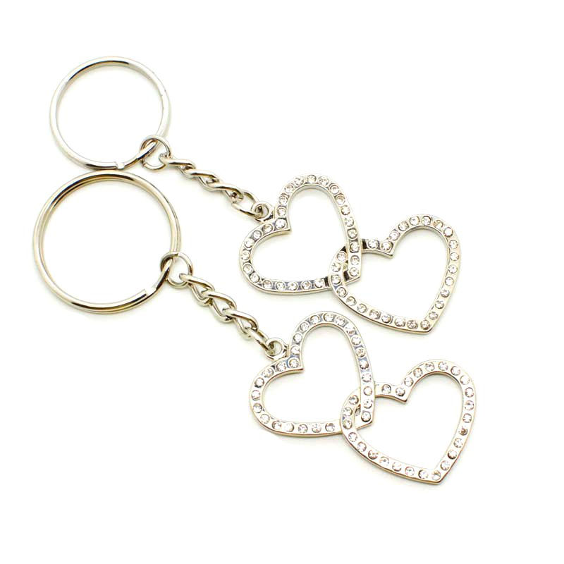 Heart Shape Rhinestones Keychain Custom Metal Key Chains Ring