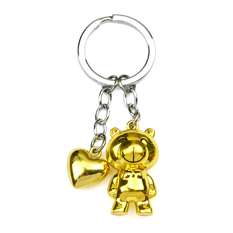 Eco-Friendly 3D Keychain Bear Custom Metal Gold Key Chain