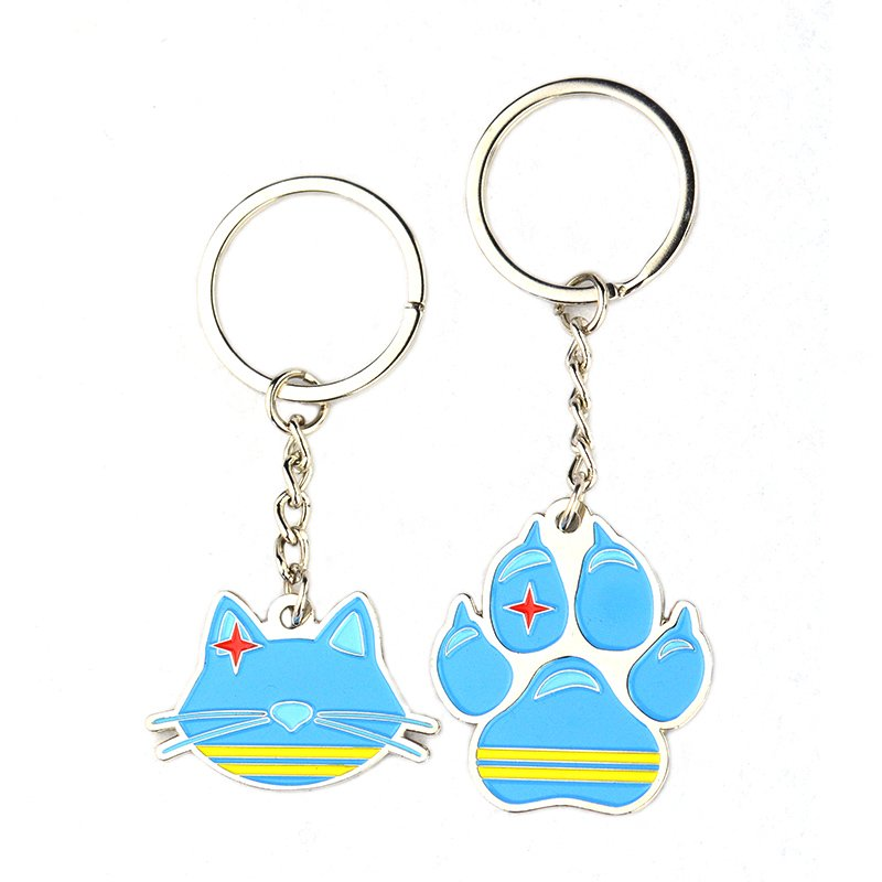 Bulk Mens Keychain Custom Enamel Key Chain Paw Shape Key Ring