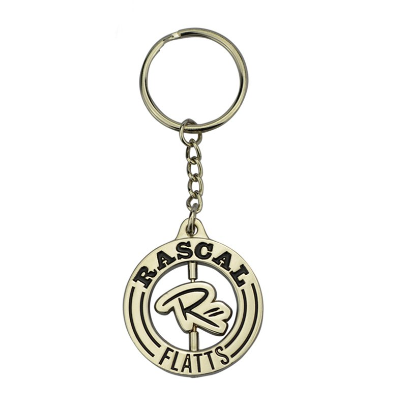 Metal Custom Keychain Maker Bulk Rotatable Logo Key Chain Ring