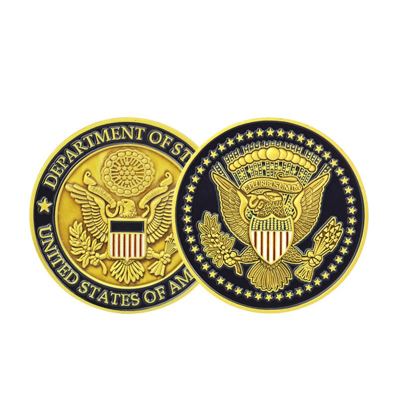 Army Design Gold Coins Custom Zinc Alloy Embossed Antique Coin